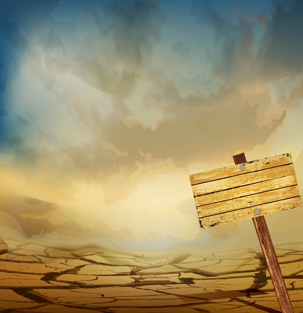 erosion: vector desert landscape with a wooden plaque