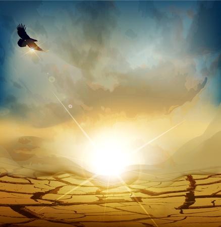 sequias: vector de paisaje desértico con sol naciente y una gran águila volando