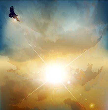 aguila volando: vector de fondo con alto vuelo de �guila sobre un fondo de sol naciente