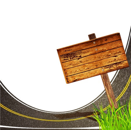 the roadside: asphalt road with  to pointing  wooden sign  on the  white background Illustration