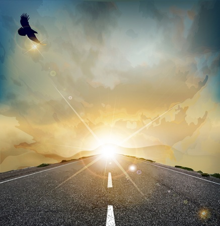 Vector landscape with rising sun, soaring eagle, and the road Illustration