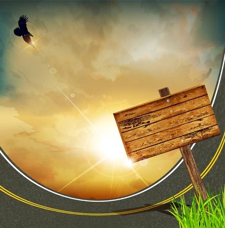 rising sun: vector de fondo con la salida del sol, �guila de alto vuelo, y una placa de madera