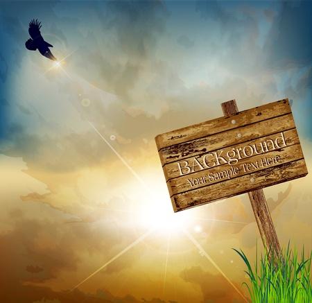 rising sun: Vector paisaje con un �guila volando sobre un fondo del sol naciente y un letrero de madera que apunta Vectores
