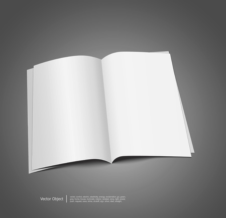 open magazine:  magazine blank, page template for design on gray background