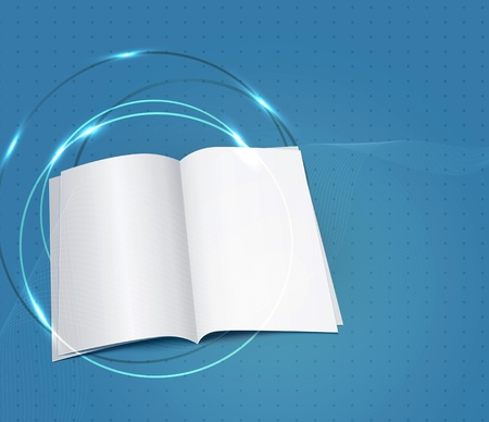 copybook:  blue business background, with a copybook