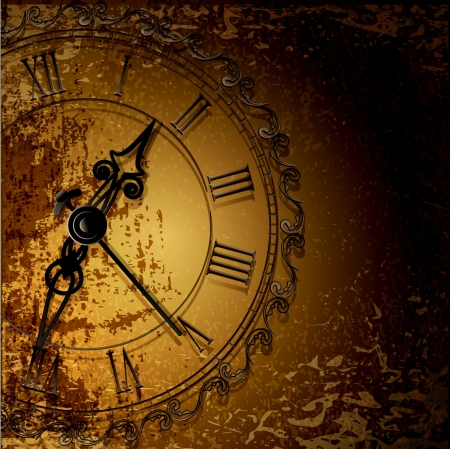 Vector grunge abstract background with antique clocks Vector