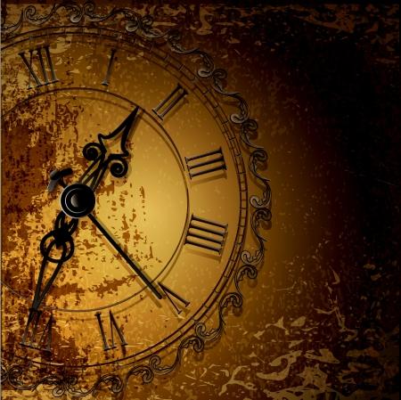 wijzerplaat: Vector grunge abstracte achtergrond met antieke klokken Stock Illustratie