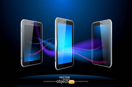 vector abstract blue background with three smartphone