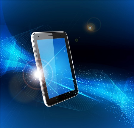 vector futuristic blue background with a mobile phone Ilustracja