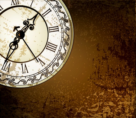 time out: Vector grunge abstract background with antique clocks
