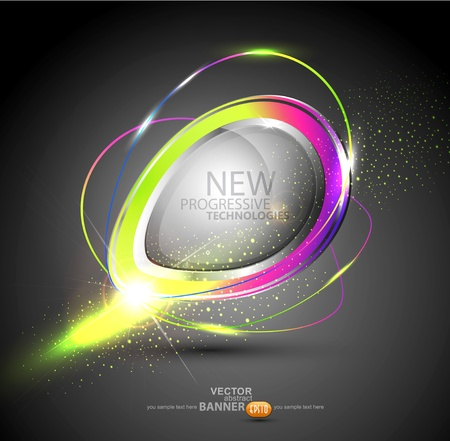 Vector round color banner  The element of web design on a white background Stock Vector - 12488505