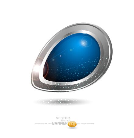 Vector round metal banner  The element of web design on a white background Stock Vector - 12488462