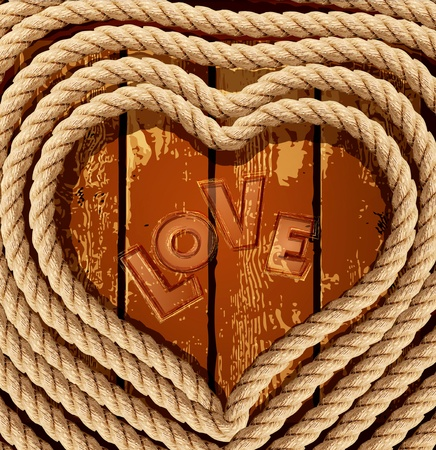 rope vector: vector background with a heart of coiled rope on a wooden background Illustration