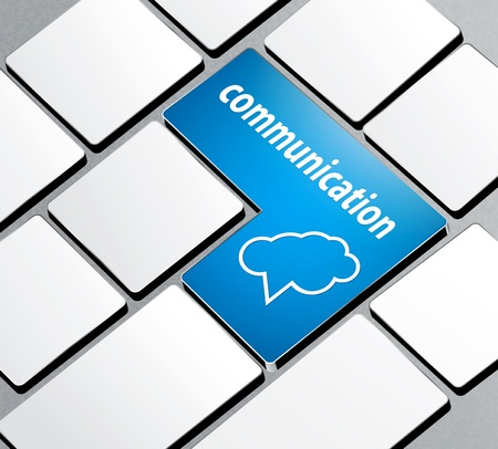 communication tools: vector background with a computer keyboard and the word communication