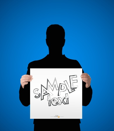 vector silhouette of a man holding a white sheet of paper for text Vector
