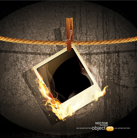 burning paper: vector background with a rope hanging and burning old photo