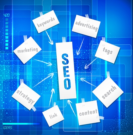 vector search engine optimization ( SEO concept)  in word tag cloud on blue background in techno style Vector