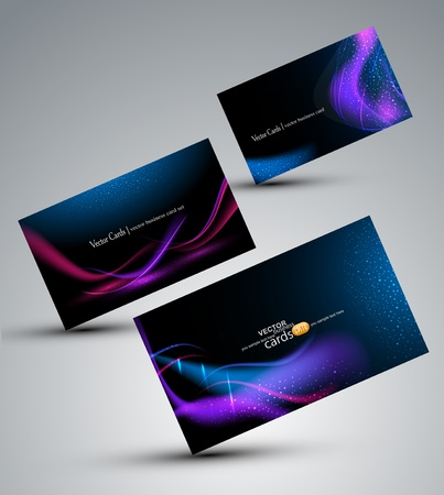 visiting card design: Futuristic vector set of cards