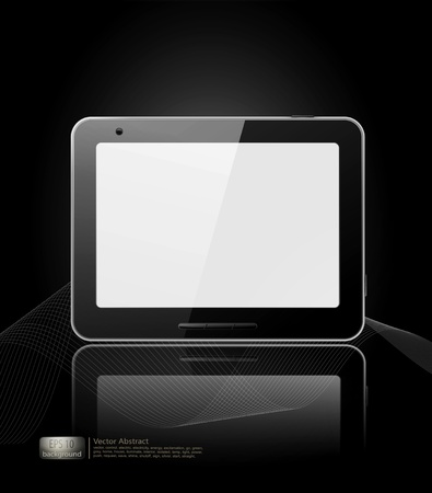 surfing the net: vector black tablet pad with a white screen and a reflection on a black background. Illustration
