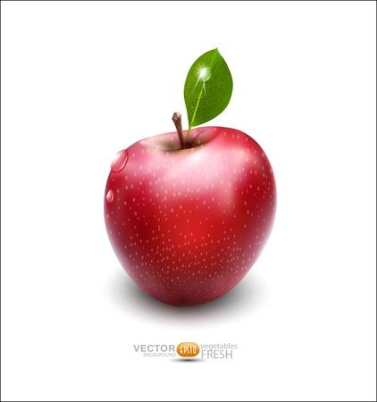 red apple with green leaf on white background Illusztráció