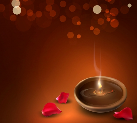background with a romantic burning candles and rose petals Ilustracja