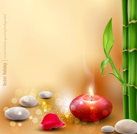 romantic background with bamboo and lit candles Vector