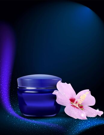 lotion:  blue jar of cream with delicate flowers on the blue background  Illustration