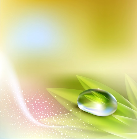background with pastel colors with a drop of dew Vector