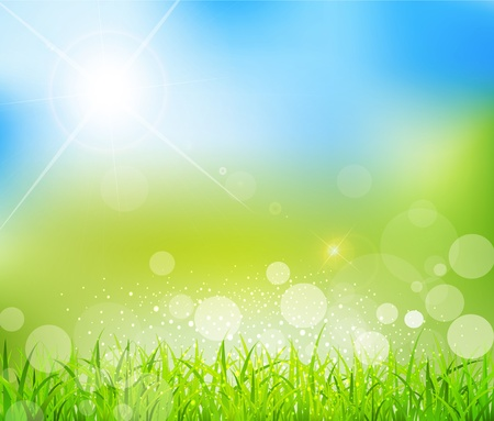 banner effect: natural green background with sun and grass