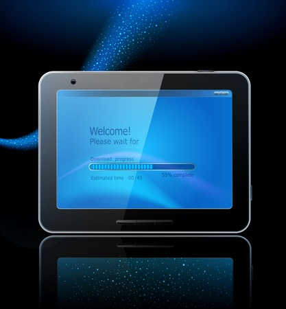 3g: black tablet pad with a blue screen and a reflection on a blue background.