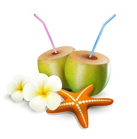 mezcla de frutas: elementos tropicales para el dise�o sobre un fondo blanco (estrellas de mar, bebidas de coco, flores)