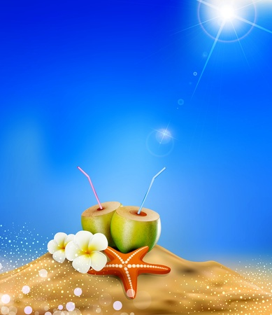 illustration with coconut cocktail, sea star, and flowers in the sand. Vector