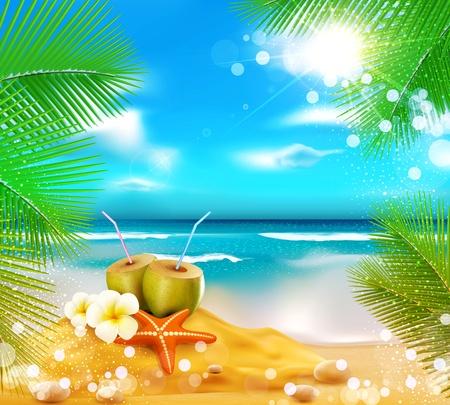 熱帯: 海、ヤシの木、カクテル ココナッツ、海の星の背景