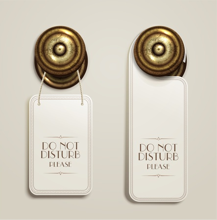 hotel icons: hotel handles with hanging signs Illustration