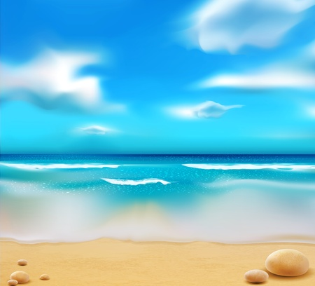 blue ocean from the beach and pebbles Vector