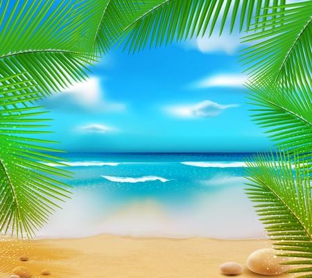 고요한 장면: 하늘 푸른 바다, 황금빛 모래와 야자수 풍경 일러스트