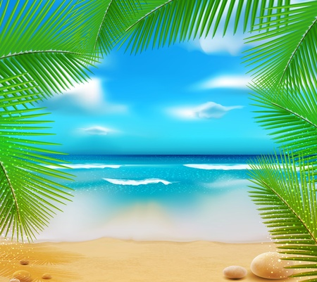 landscape with a sky-blue ocean, golden sands and palm trees
