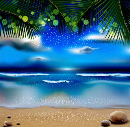 evening landscape with the ocean and palm trees Vector