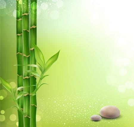 둥근 돌: 대나무와 돌 명상, 동양 배경 일러스트