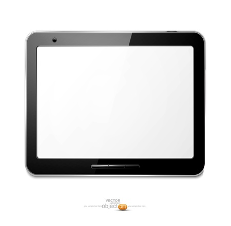 with computer tablet on the white background Stock Vector - 12866880