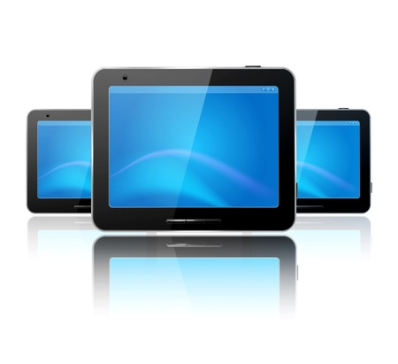 ereader: with three computer tablet on the white background and reflection