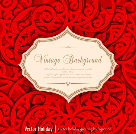cartouche: red, holiday, vintage background