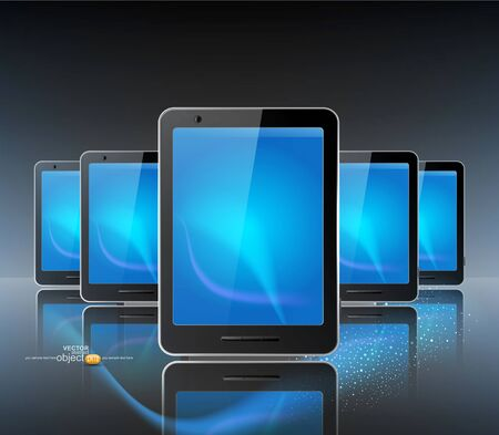 three computer tablet on the grey background and reflection Vector
