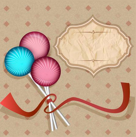 vector, vintage background with  lollipops candy on a stick Vector