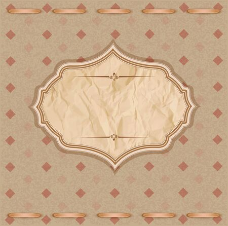 vector, vintage congratulatory background with crumpled paper and bow Vector