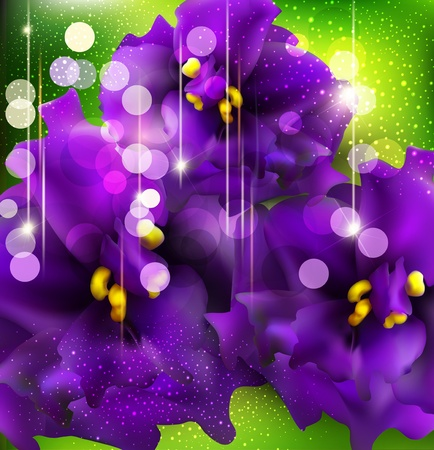 vector background with romantic violets on a green background Illusztráció