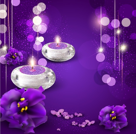 candles spa: vector background with romantic candles and violets on purple background