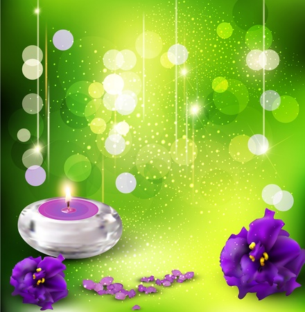 vector background with romantic violets and candles on a green background Vector