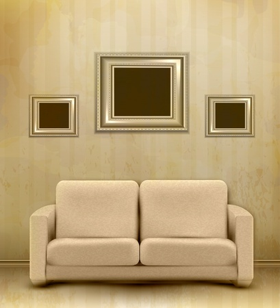 vector vintage retro interior with sofa and three frames for pictures on the wall Vector