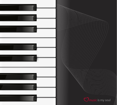 music stave: Piano keyboard on a black background